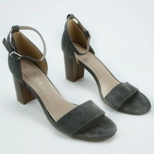 Gray Faux Suede Block Style Sling Back Heel 9